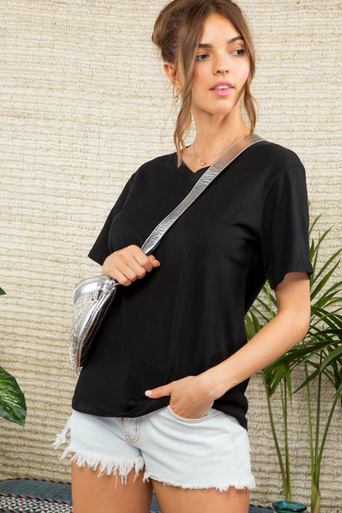 Luxe Basic Black V-Neck Top