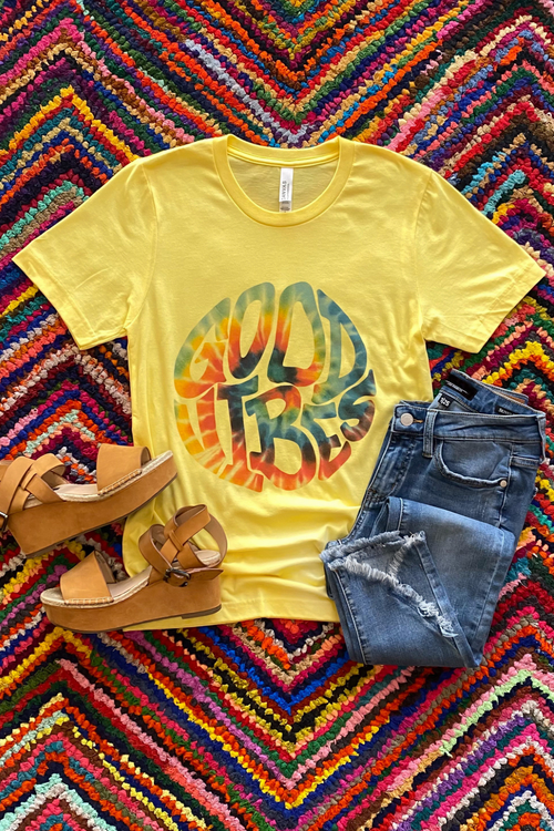 Good Vibes Yellow Graphic Tee