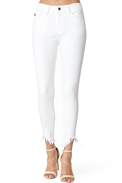 Bella Asymmetric Frayed Ankle White Skinny Jeans