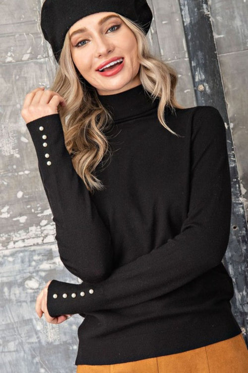 Harmonious Pearl Accent Black Turtleneck