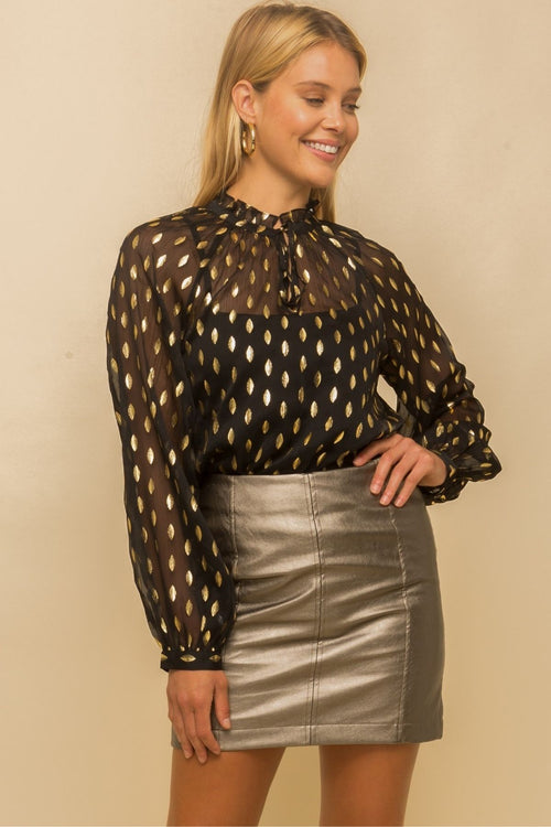Hawn Gold Dot Sheer Chiffon Black Top