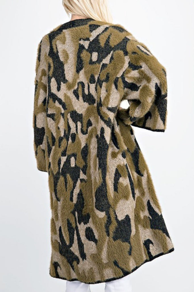 Incognito Bell Sleeve Camo Sweater Cardigan