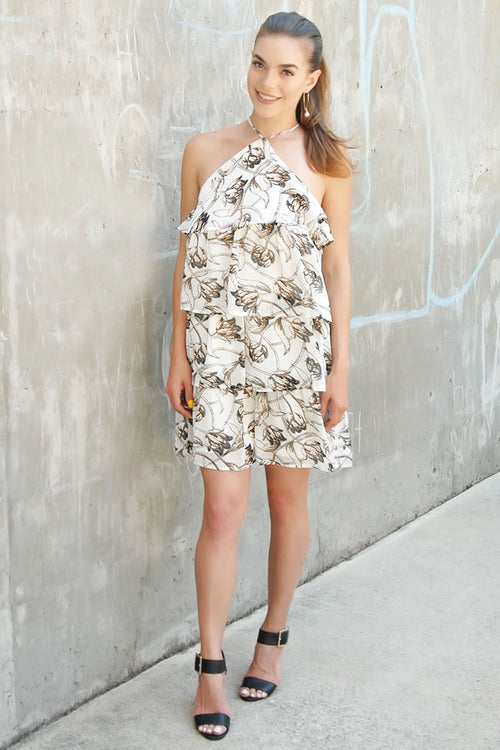 Jasmine Tiered Ruffle Floral Print Halter Dress