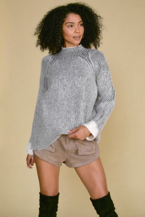 Jenner Mock Neck Ribbed Sweater