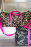 Jetsetter Pink Accent Leopard Print Travel Duffle Bag