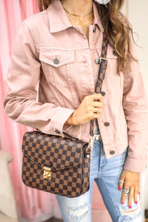 Lacey Brown Checkered Crossbody Bag