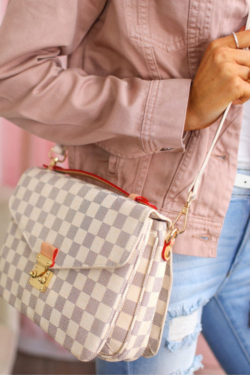Lacey Ivory Checkered Crossbody Bag
