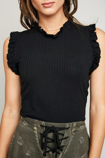 Little Darling Ruffle Detail Black Ribbed Sleeveless Top