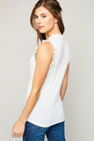 Little Darling Ruffle Detail Off White Ribbed Top