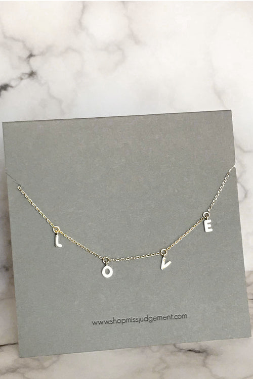 LOVE Gold Tone Necklace