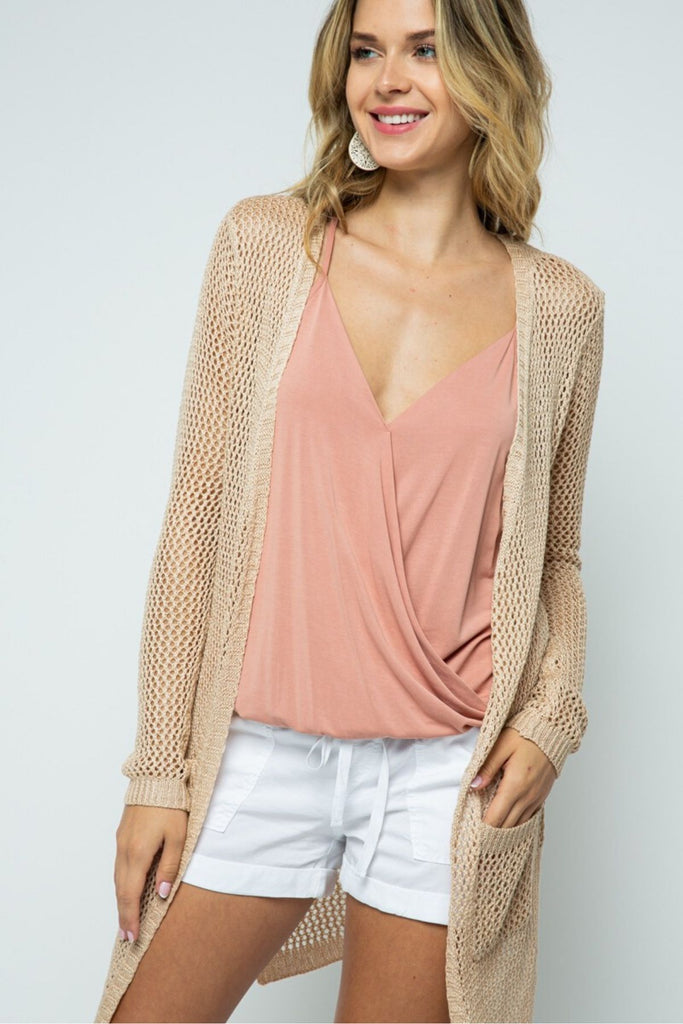 Malibu Loose Knit Tan Cardigan