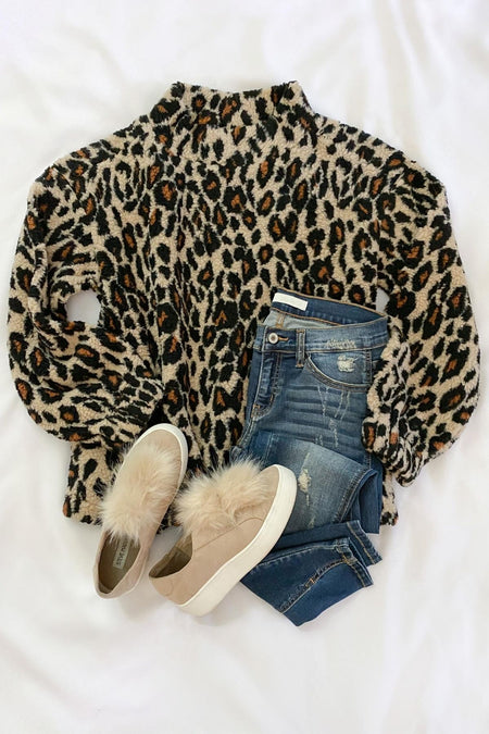 Rove Charcoal Leopard Puff Sleeve Top