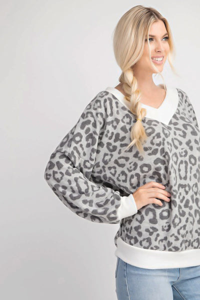 Meow Or Never Ultra Soft Grey Leopard Print V-Neck Top