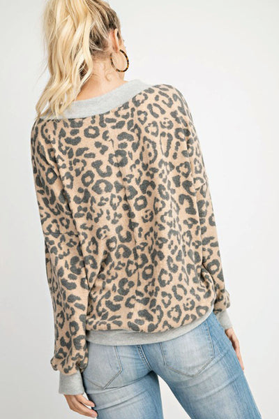 Meow Or Never Ultra Soft Leopard Print V-Neck Top