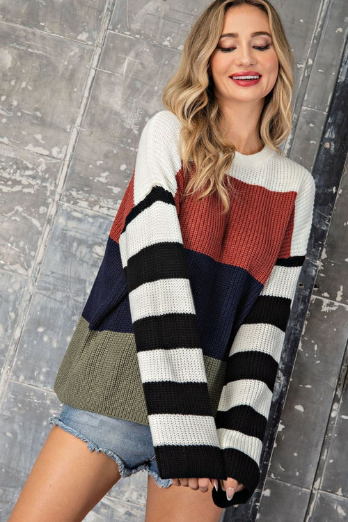 Mistral Bell Sleeve Stripe Sleeve Sweater