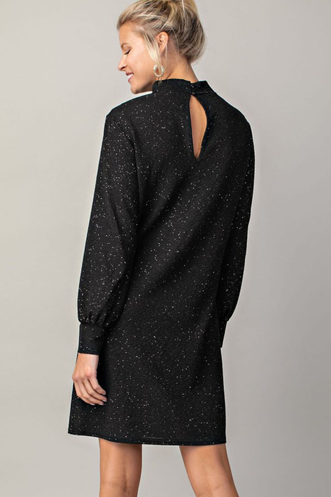 Simmer Down Puff Sleeve Black Sparkle Dress