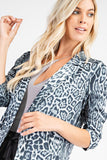 Nine Lives Grey Leopard Print Boyfriend Blazer