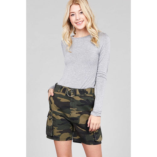 No Excuses High Waisted Camo Cargo Shorts