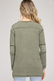 Overland Stone Washed Henley Top