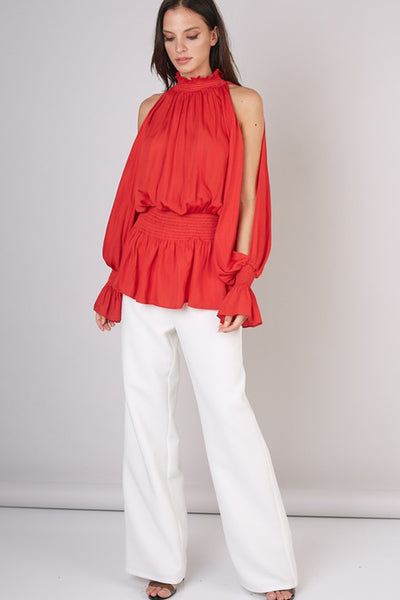 Red Hot Open Balloon Sleeve Smocked Red Top