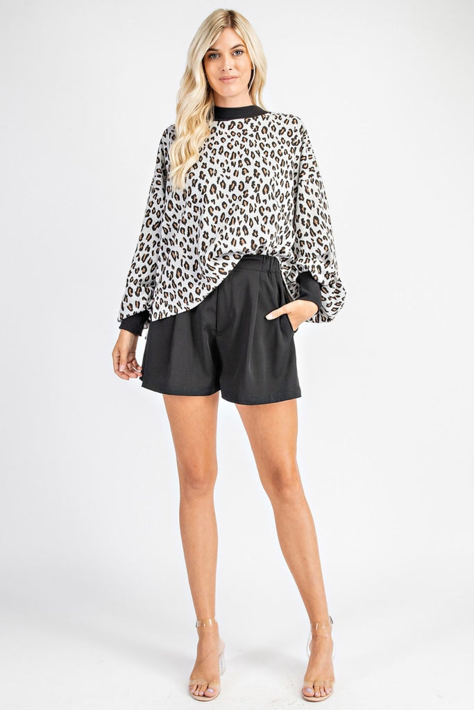 Rove White Leopard Puff Sleeve Top