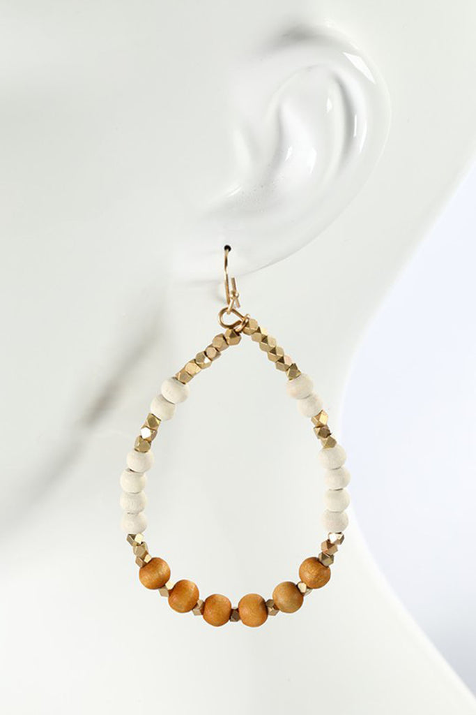 Sandbar Natural Wood Bead Teardrop Earrings