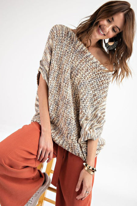 Bit Of Shimmer Gold Sequin Dot Grey Sweater