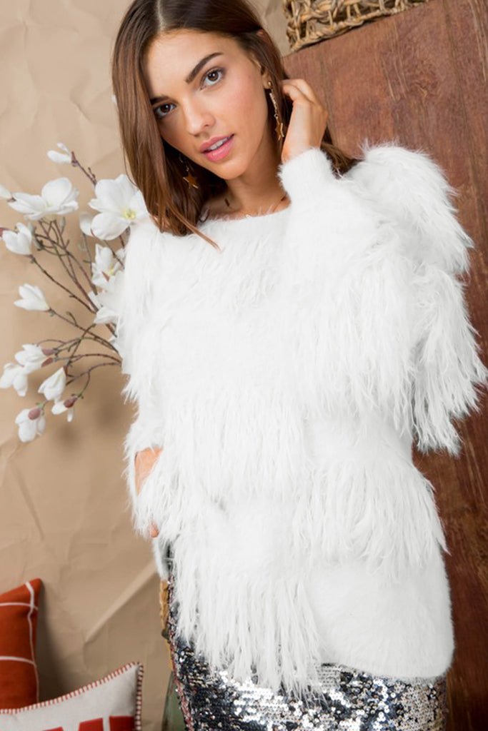 Oh What A Night Fringe Detail White Sweater