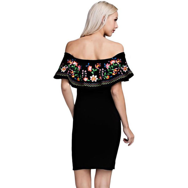 Bella Floral Embroidered Black Dress