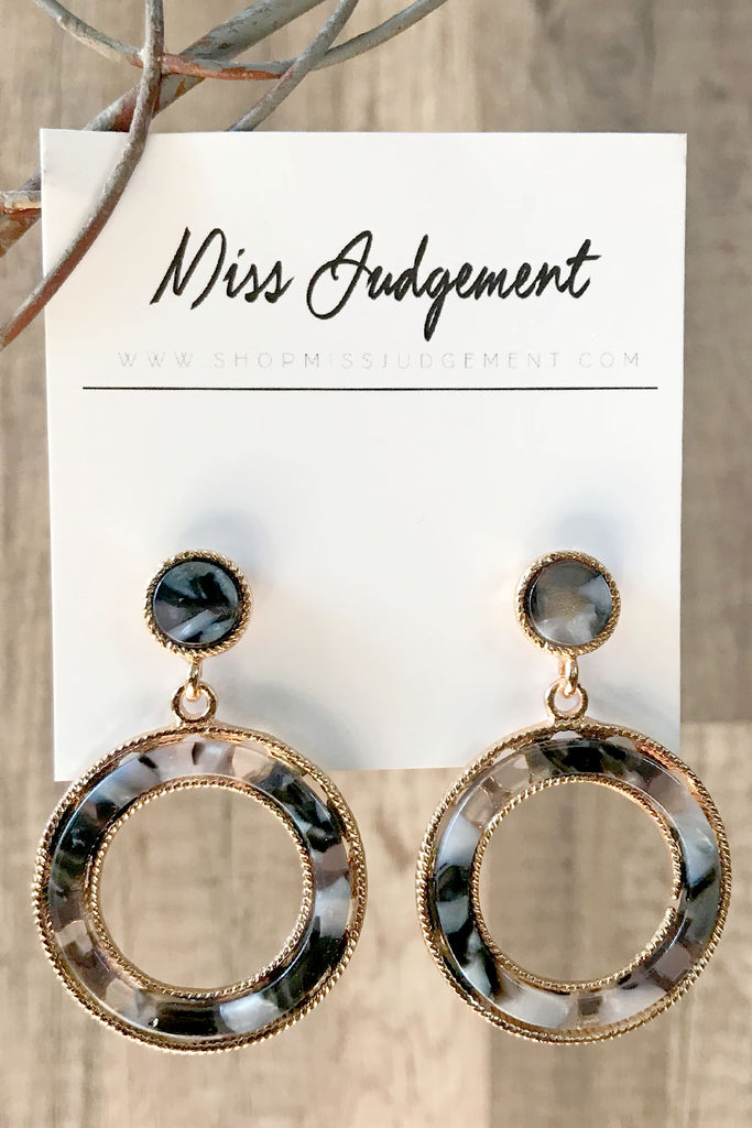 Smoke & Mirrors Taupe Mix Circle Drop Earrings