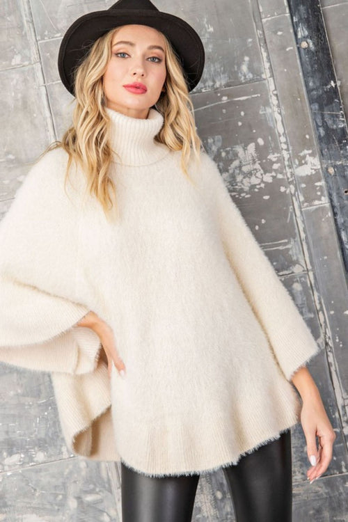 Snow Bunny Plush Turtleneck Oatmeal Poncho