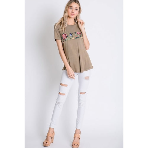 Spring Ahead Floral Embroidered Khaki Top