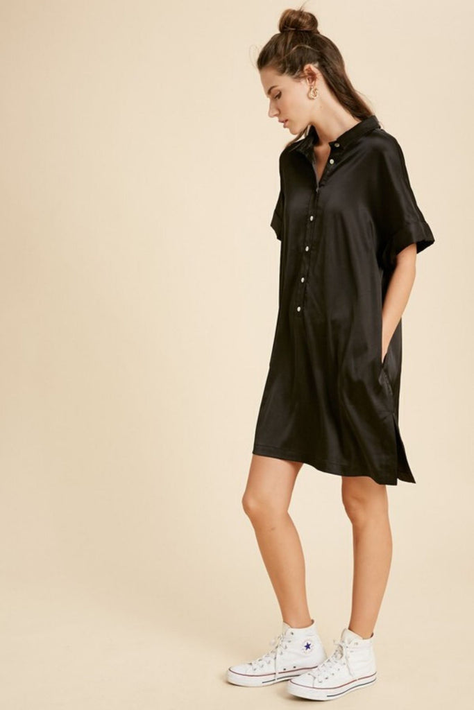Stamp Of Approval Black Satin Dress