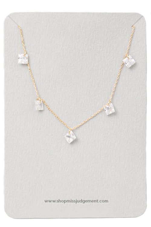 Star Gazer Dainty Square Clear Stone Necklace