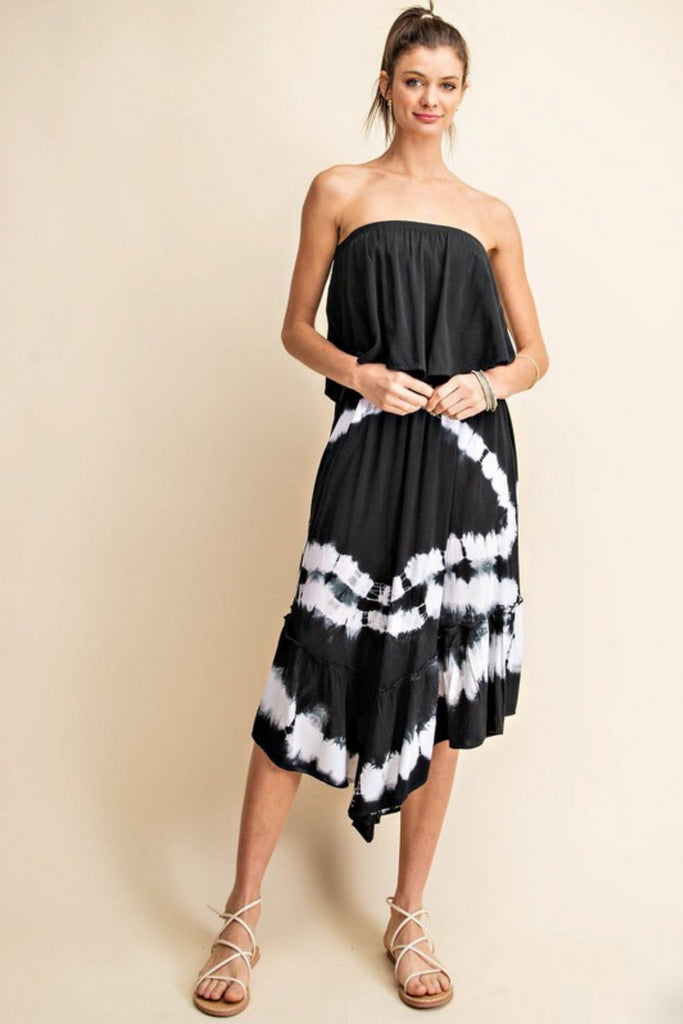 Summer Swag Black Tie Dye Midi Dress