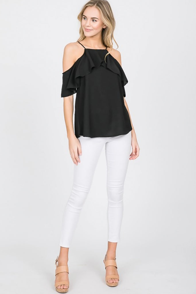 Sunkissed Cold Shoulder Black Top