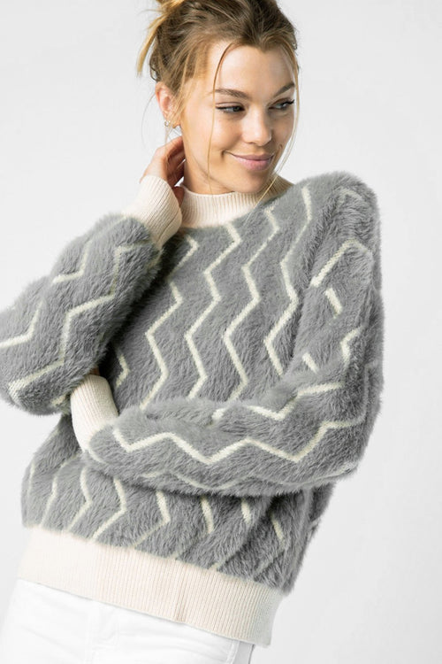 Thelma Fuzzy Soft Grey Chevron Sweater