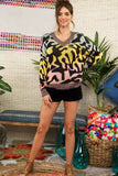 Tyga Rainbow Abstract Print V-Neck Sweater