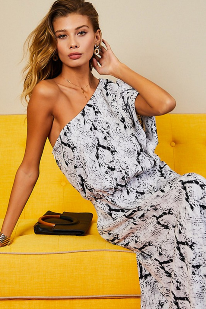 Standout One Shoulder Snake Maxi Dress