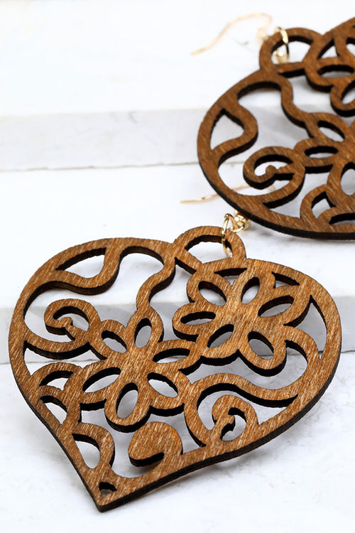 Wood Heart Filigree Brown Earrings