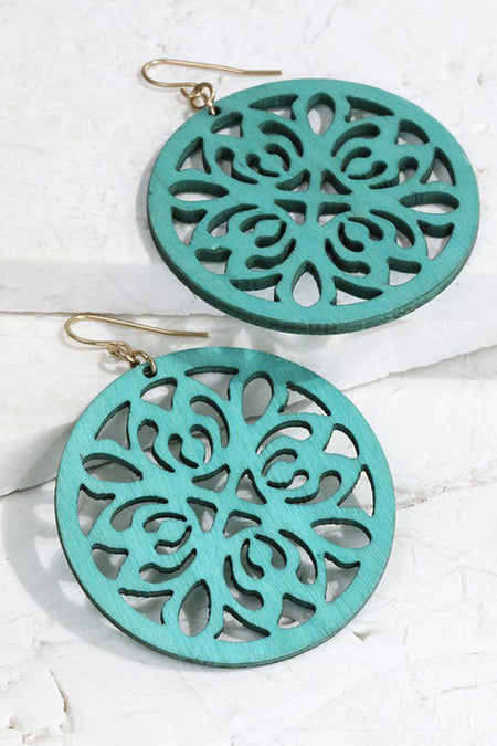Wood Laser Cut Filigree Round Natural Earrings