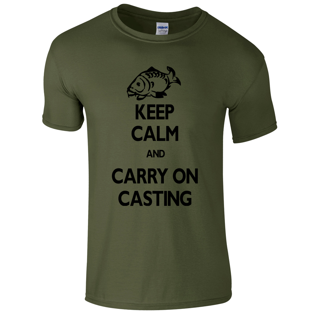 Carry on Casting Keep Calm  Fishing Threads Men's T-shirt