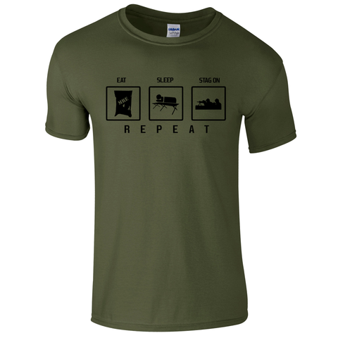 Eat Sleep Stag on Repeat Military T Shirt