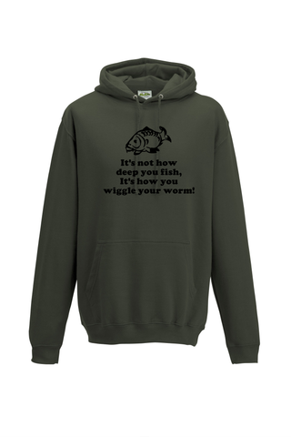 Not how deep you fish, but how you wiggle your worm. Fishing Threads Unisex Hoody