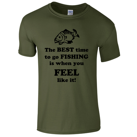 The best time to go Fishing...  Fishing Threads Men's T-shirt