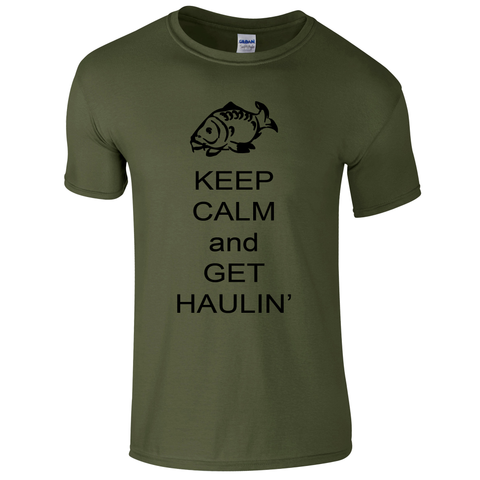 Get haulin' Keep Calm  Fishing Threads Men's T-shirt