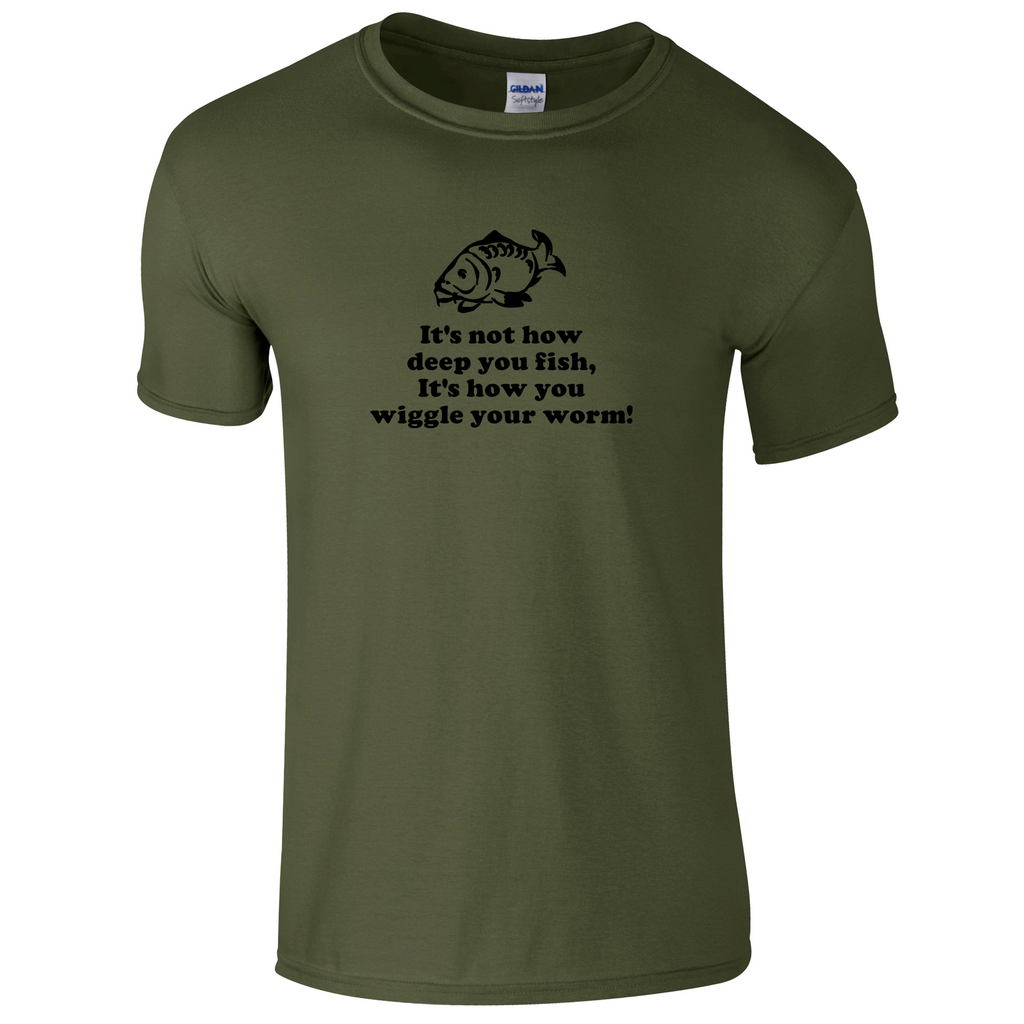 Not how deep you fish, but how you wiggle your worm. Fishing Threads Men's T-shirt