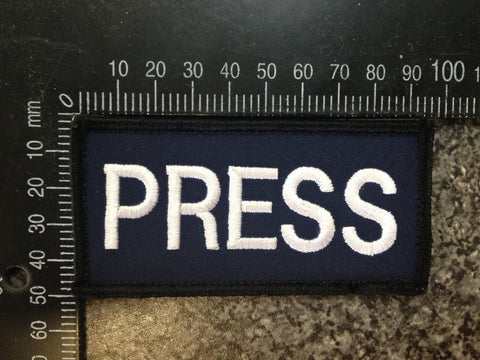 Embroidered 'PRESS' badges Velcro backed for Body Armour