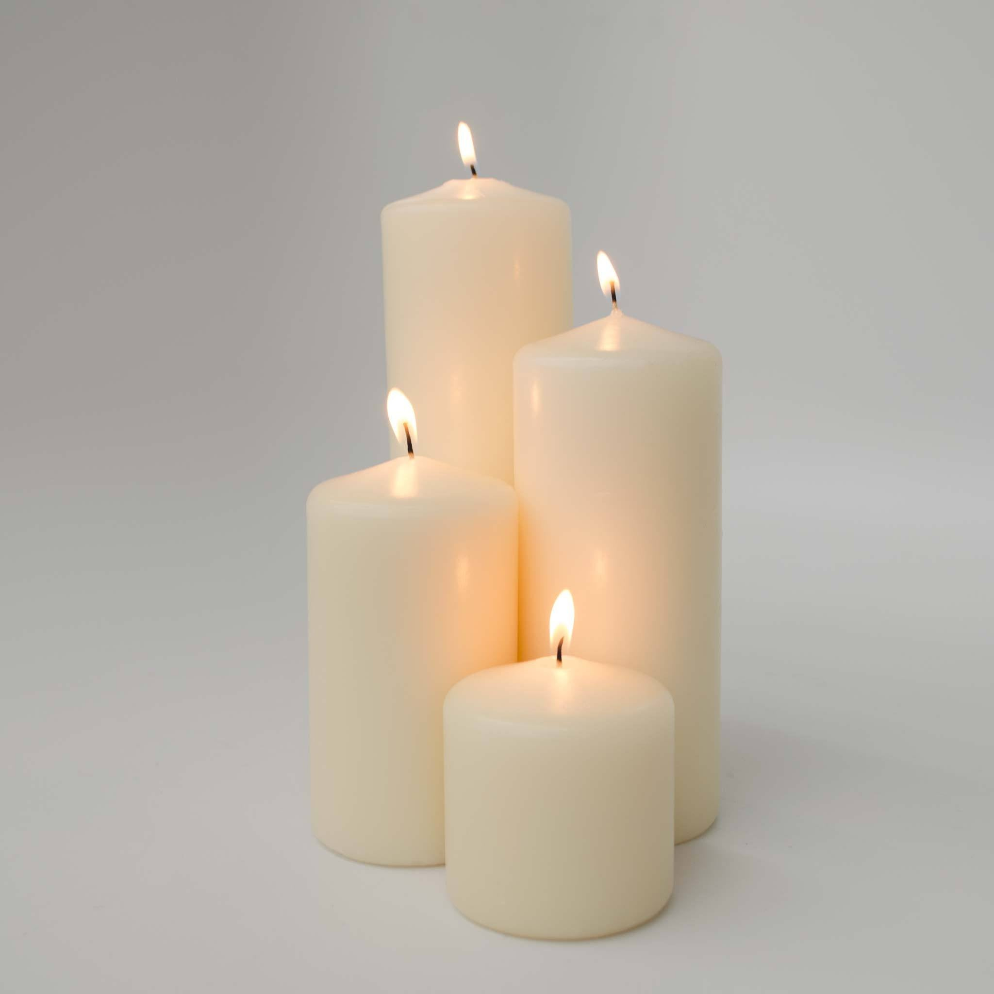 Ivory 24 Pillar Candle Bundle: includes 6 of the 3x3, 3x5, 3x7 and 3x9 Pillar Candles - WeddingCandles.com