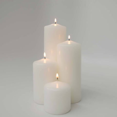 White 24 Pillar Candle Bundle: includes 6 of the 3x3, 3x5, 3x7 and 3x9 Pillar Candles